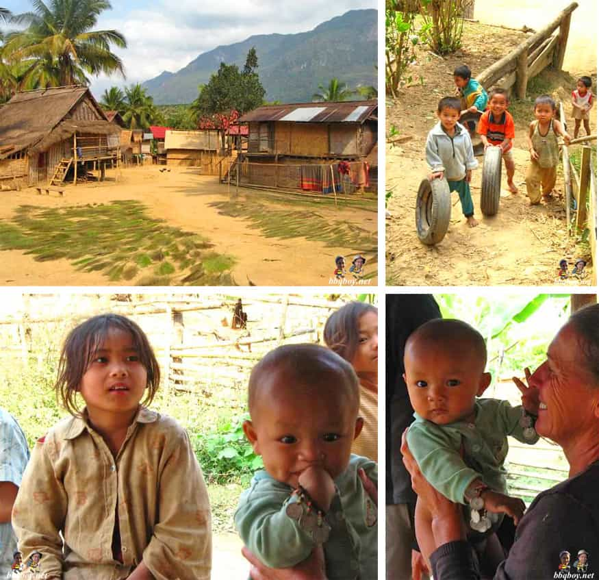 kids and villages in northern laos