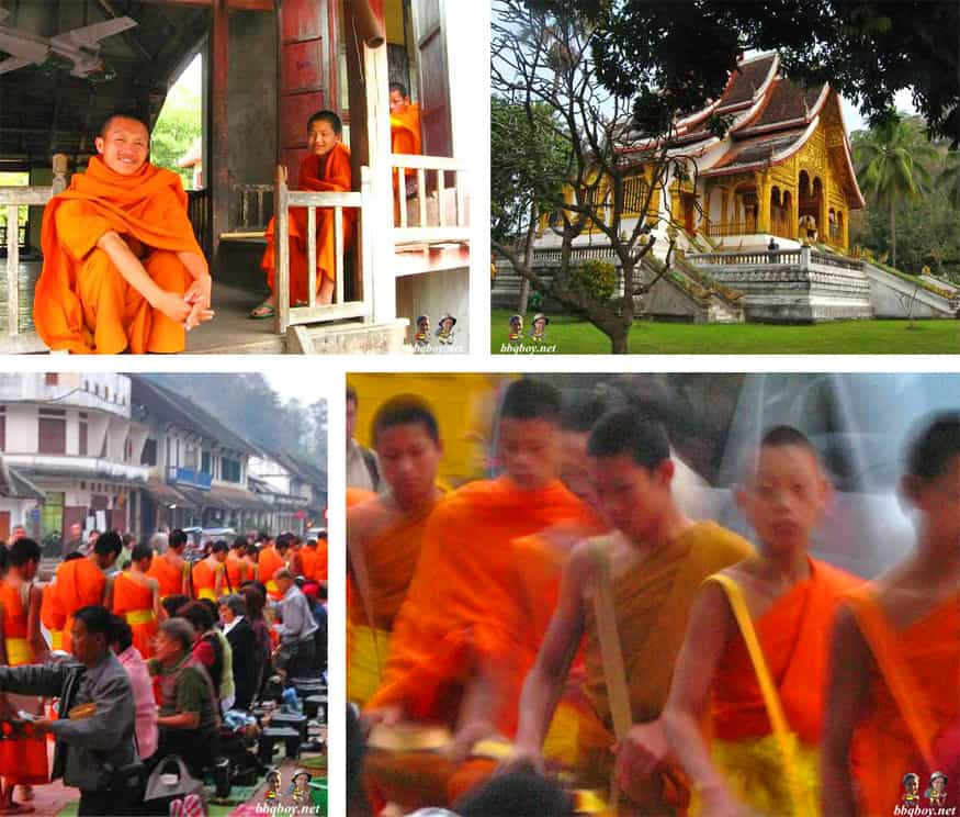 monks and temples in Luang Prabang, Laos