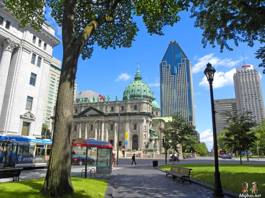 Dorchester square, looking out over 1000 de la Gauchetiere building and Mary Queen of the World Cathedral, Montreal