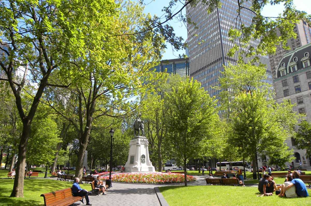 Square in Montreal's downtown. Beautiful Montreal in the summer