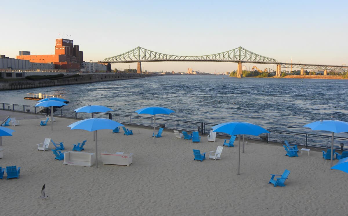 beach in Montreal's old port.