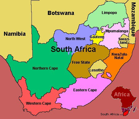 Political map of South Africa. The most detailed guide to South Africa