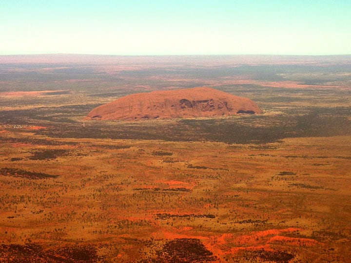 ayers rock from the air