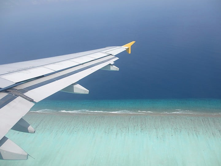 maldives from the air. Views from a Plane Window
