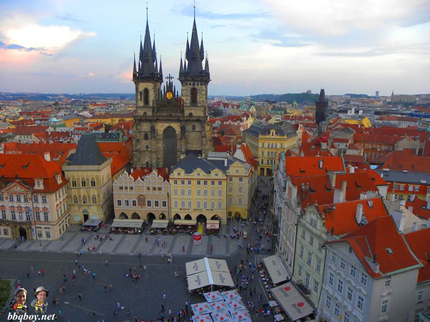 Views of Tyn church from The Old Town Hall Tower, Prague
