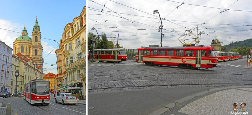 taking the tram in Prague