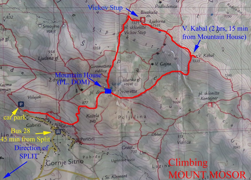 "Map of Mount Mosor. Hiking Mount Mosor the ""Man's Way"""