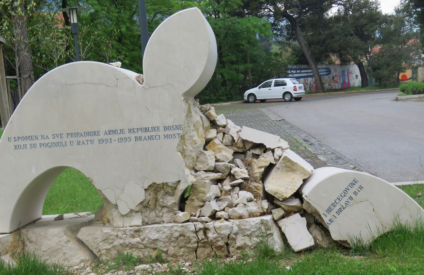 destroyed monument in Mostar