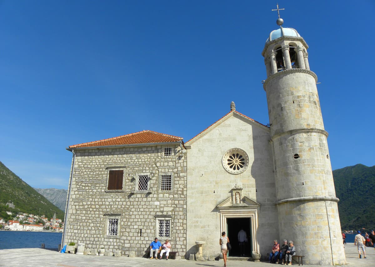 church on the island in Perast, Montenegro