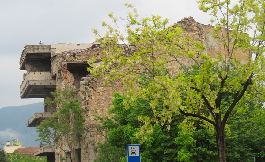 bombed out buildings in Mostar. Hate and Sadness in Mostar, Bosnia and Herzegovina