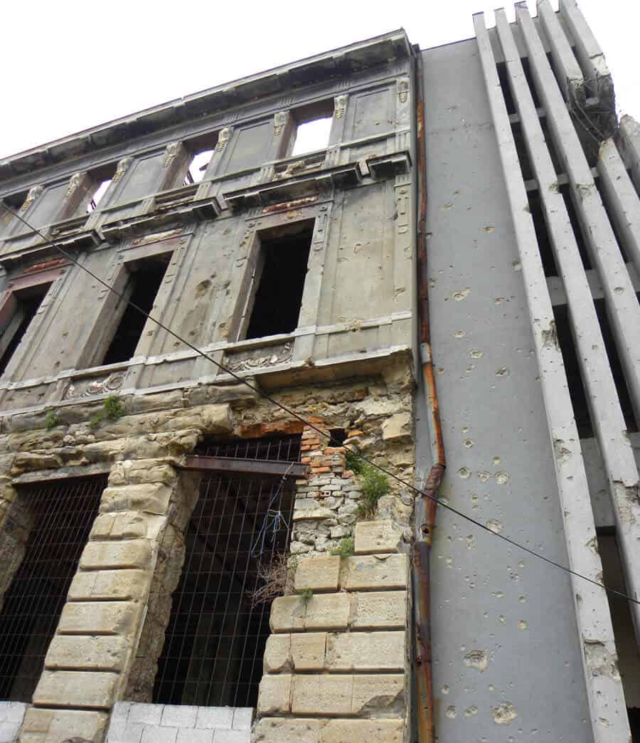 bombed out buildings in Mostar