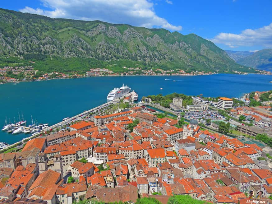 view of Triangular shape of Kotor, Montenegro