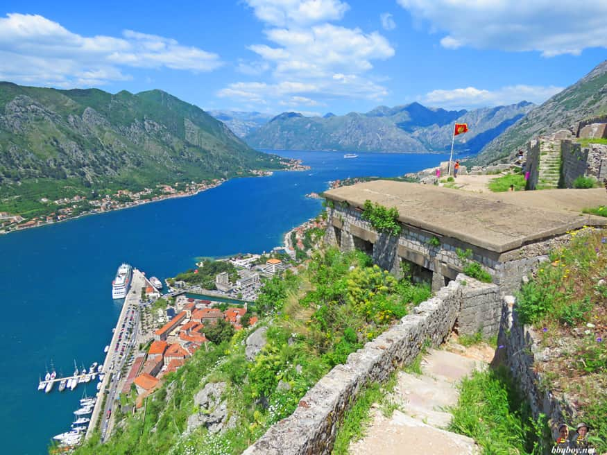 views of Kotor town and the Bay of Kotor, Montenegro