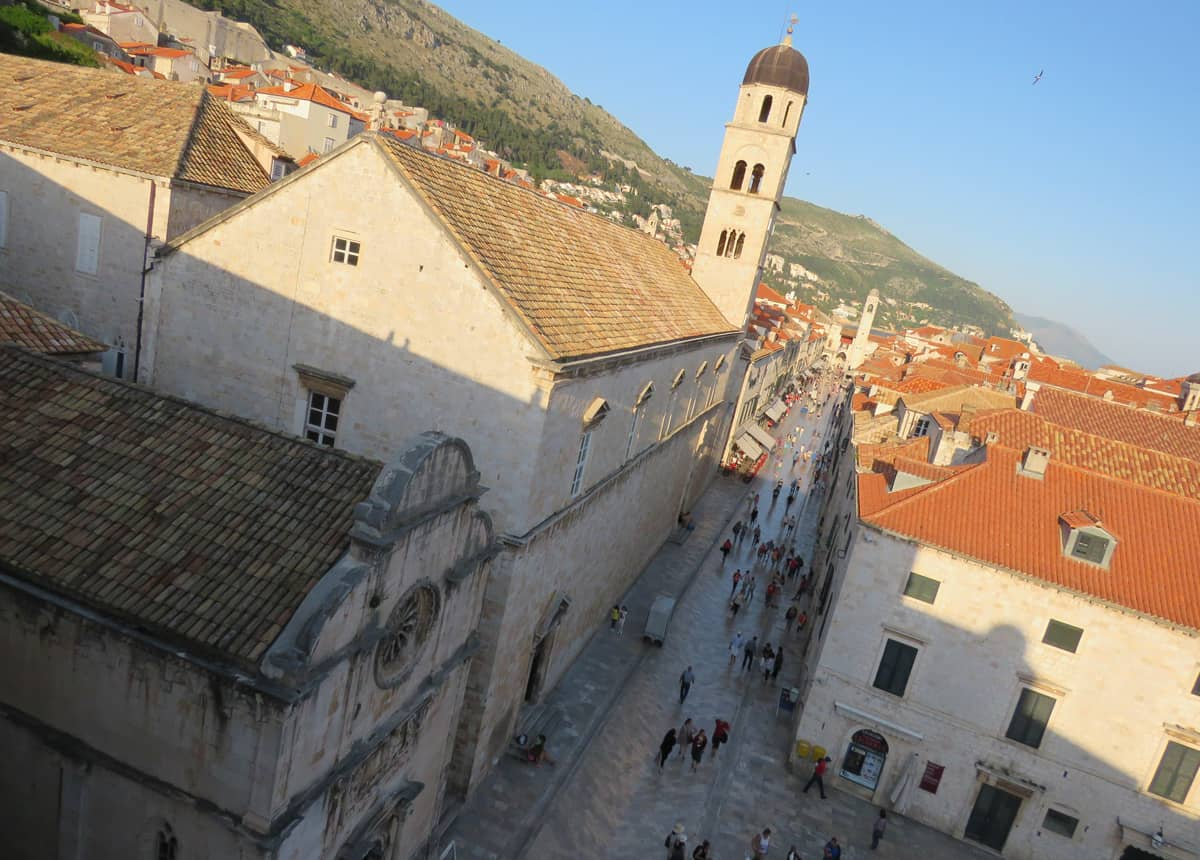 Views of the Stradun from the city walls, Dubrovnik