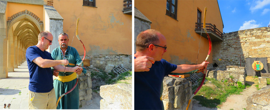 shooting arrows at eger castle, Hungary