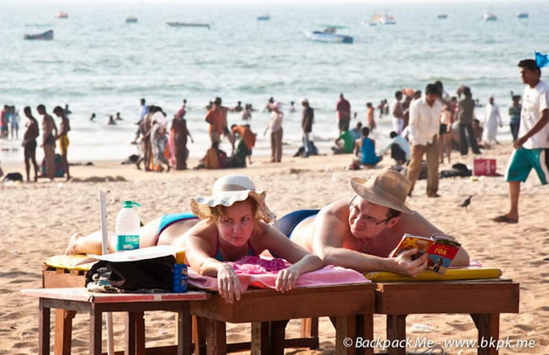 Tourists dont look too happy at the beach in North Goa