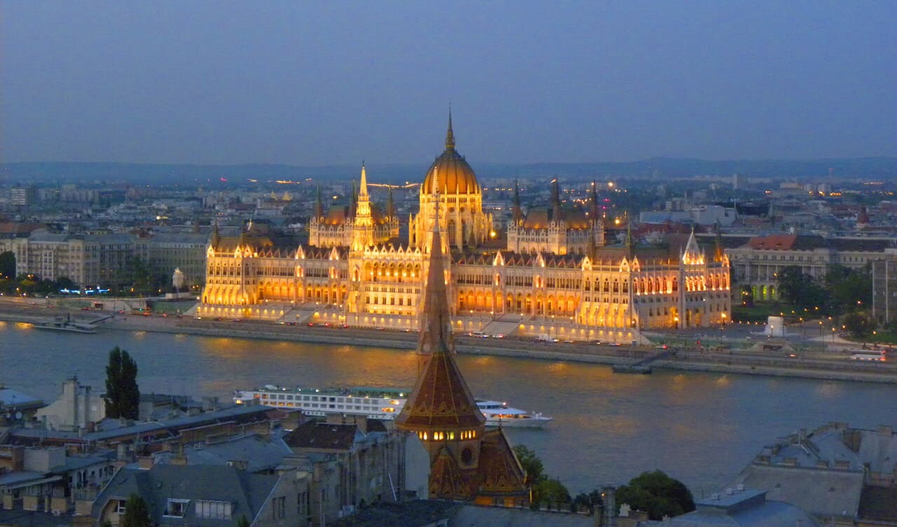 views of parliament at night, Budapest