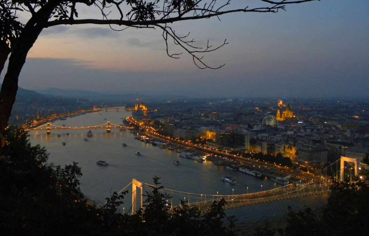 views of Budapest from Gellert Hill.