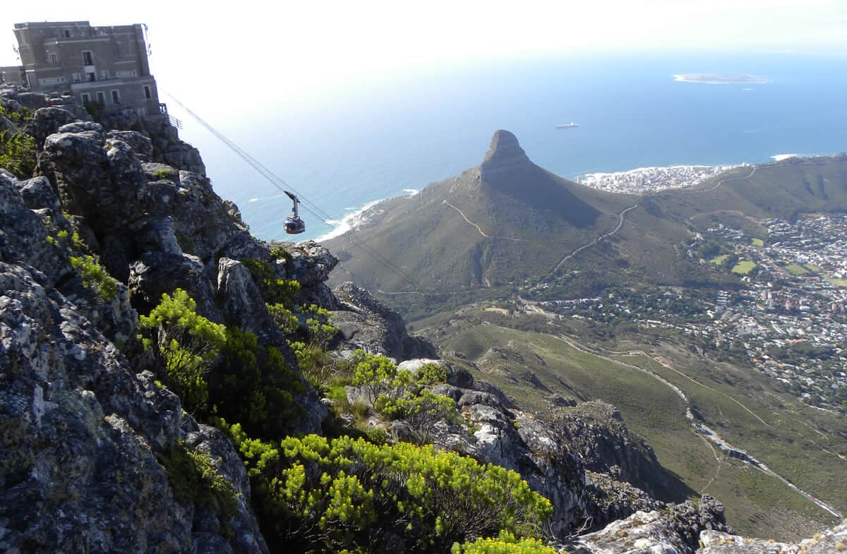 Views of the Table mountain cable car
