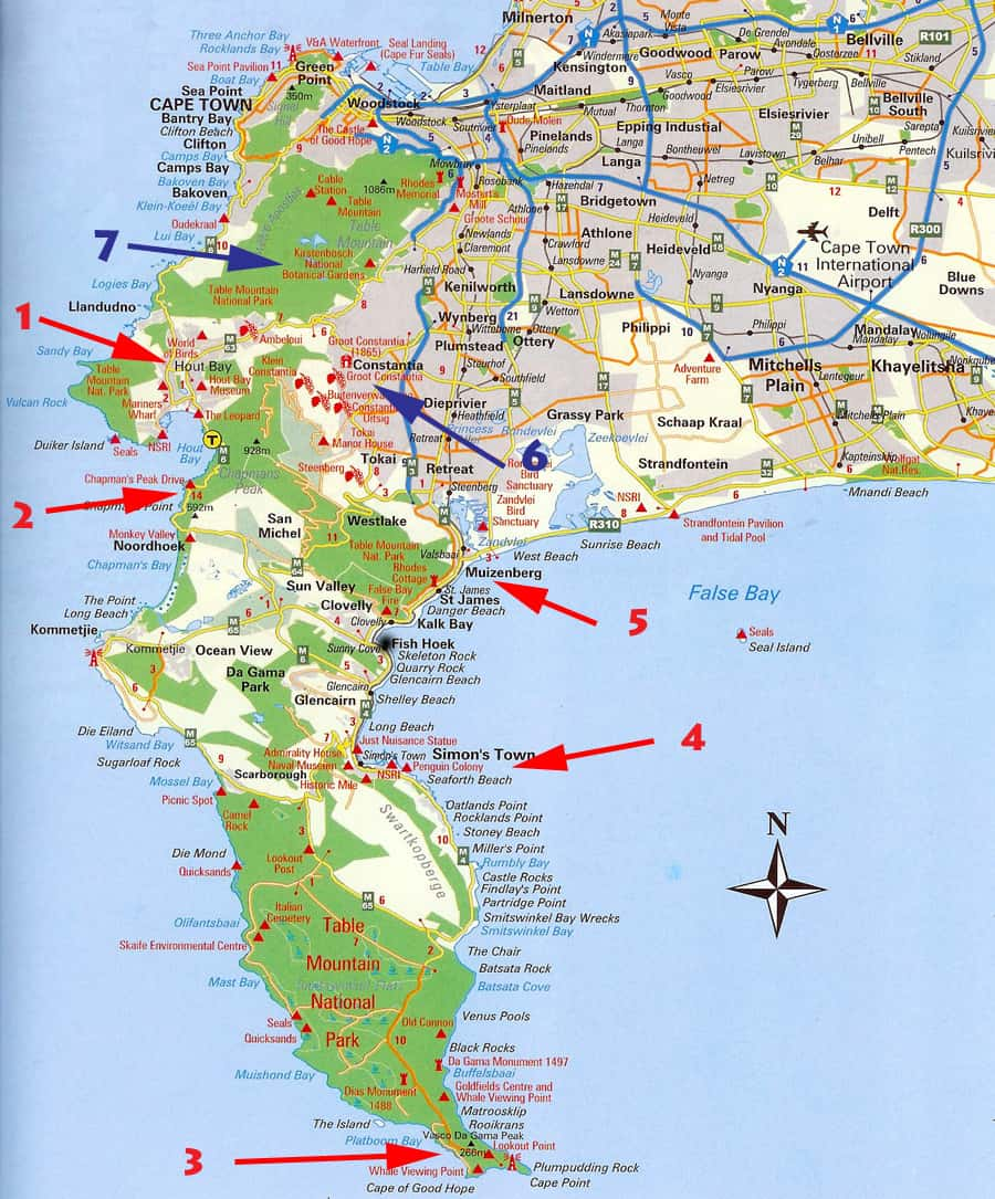 Highlights of the Cape Peninsula. Map