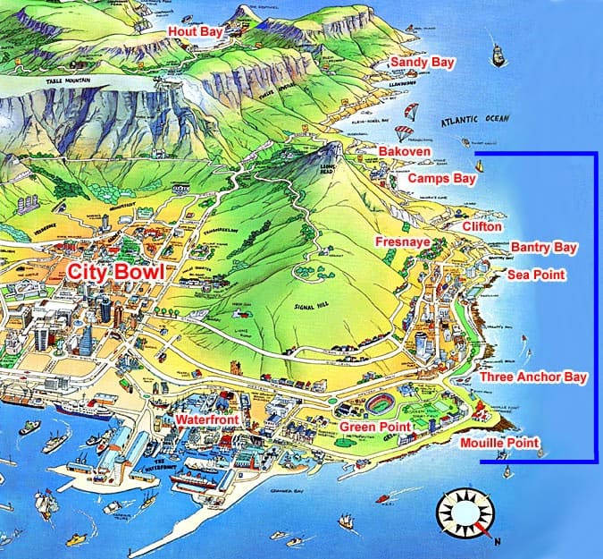 A guide to walking the Atlantic Coastline of Cape Town. Map