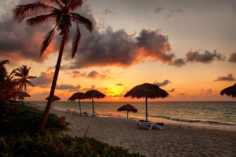 Beach at sunset, Varadero, Cuba