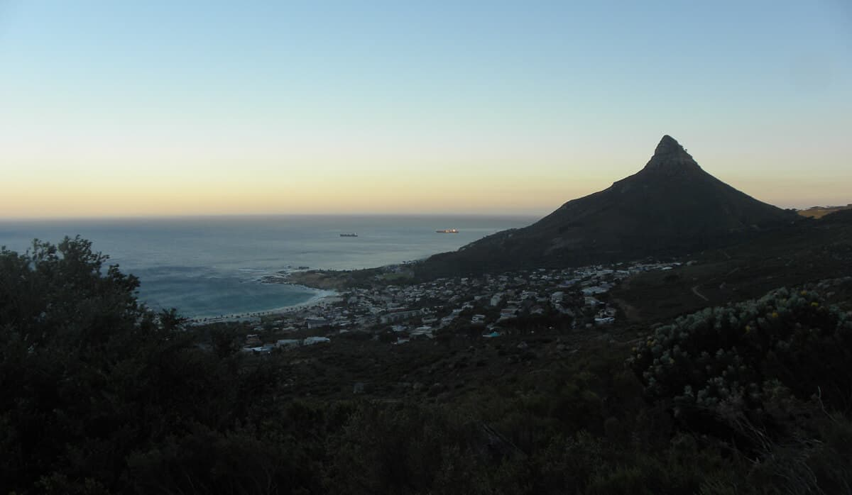 Views of Lion's head. Hiking up the Twelve Apostles to Table Mountain