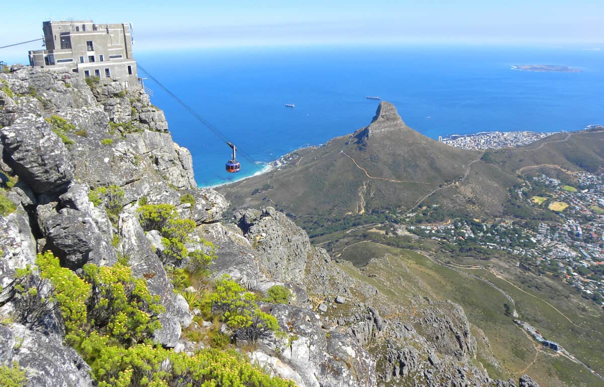 Views of the cable car from Table Mountain