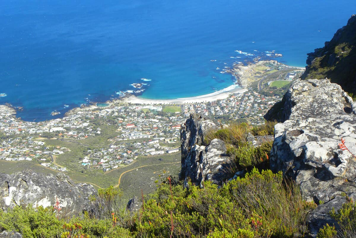 Views from Table mountain on Camps Bay, Cape Town