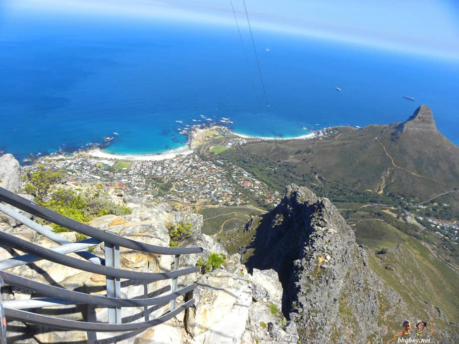 views of cape town, looking down from cable car table mountain