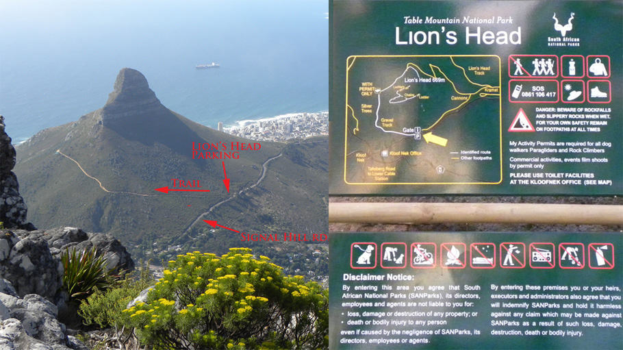 "The Essential ""Must do"" hike in Cape Town: Lion's Head. Map"
