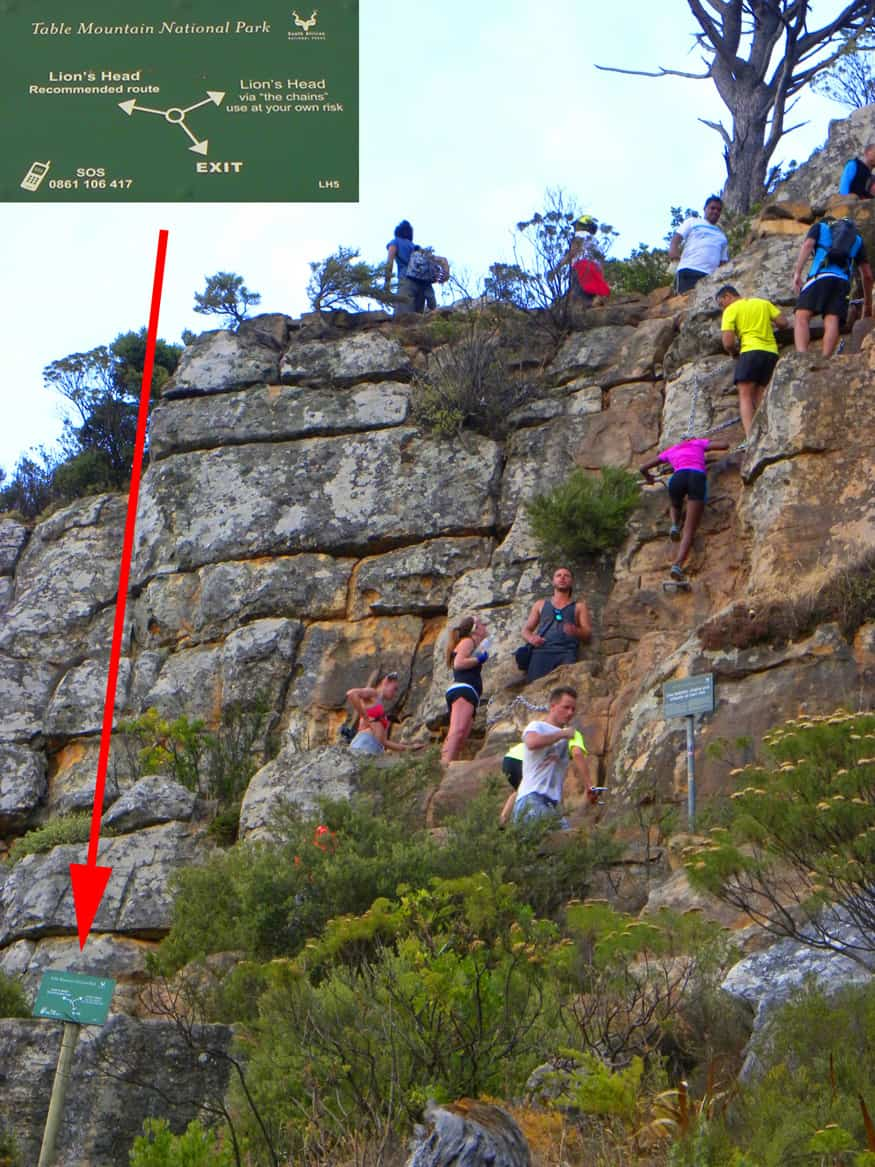 "hard way vs easy way up Lion's head. The Essential ""Must do"" hike in Cape Town: Lion's Head"