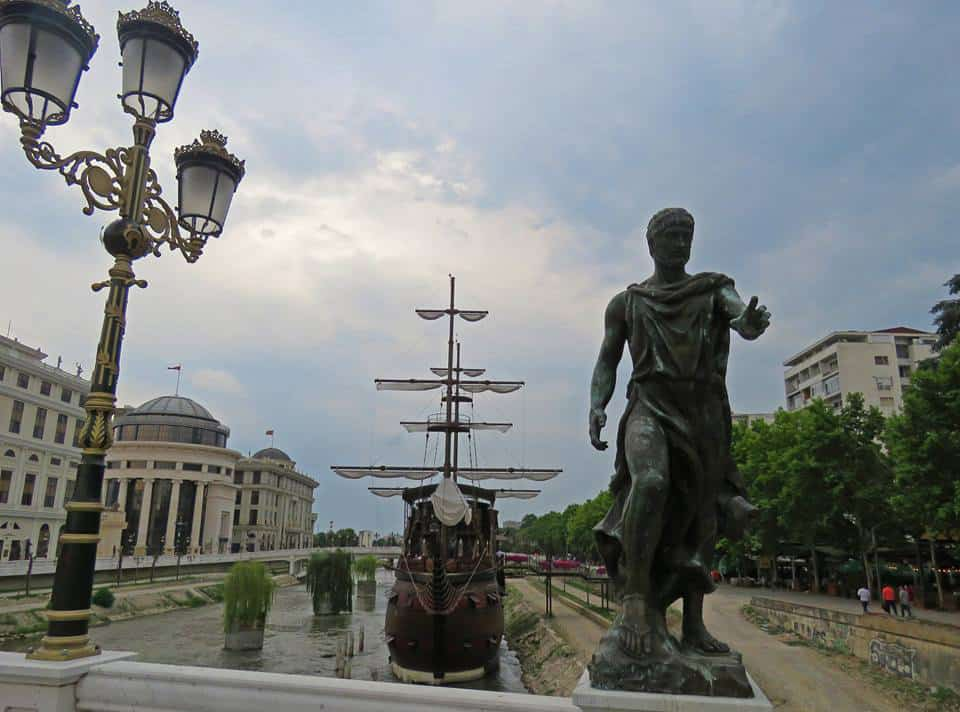statues and boat in Skopje