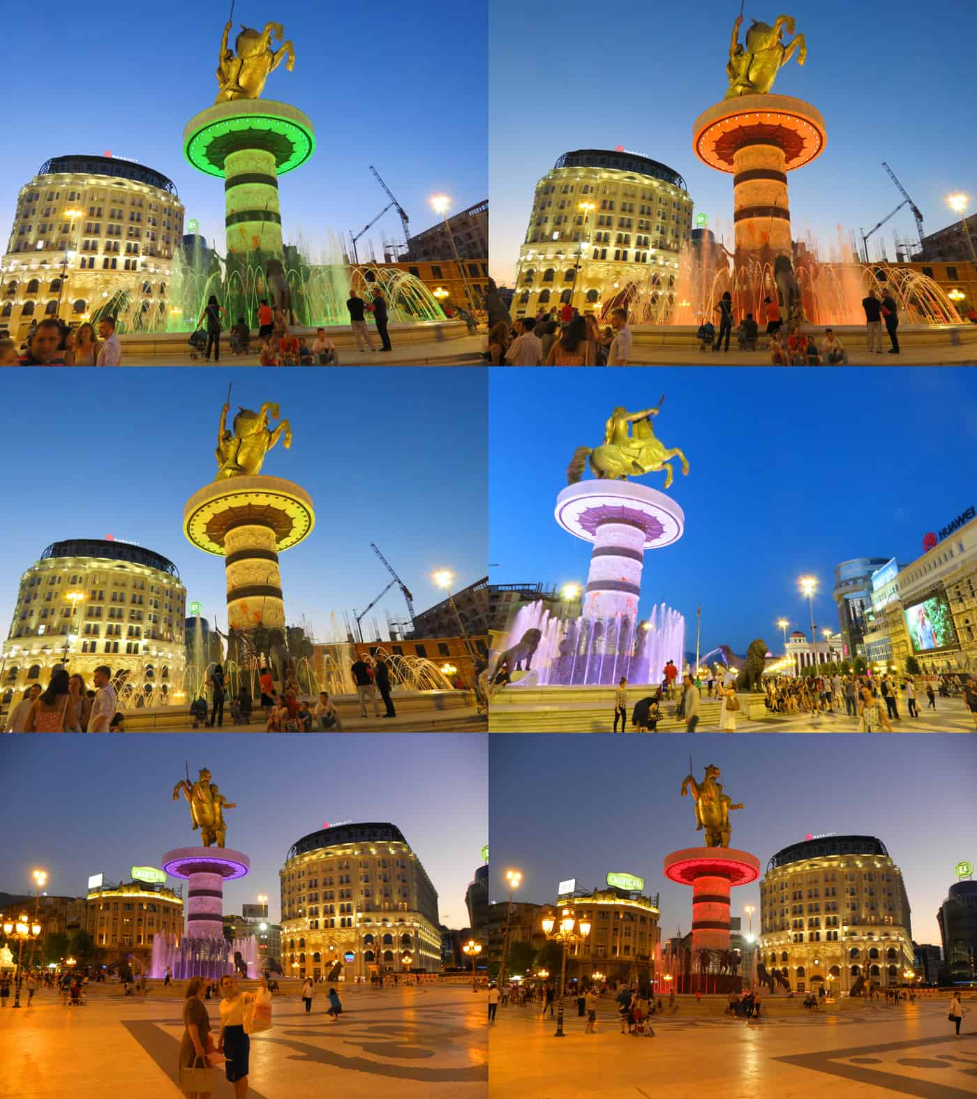 the colors of the Alexander the Great fountain, skopje, macedonia