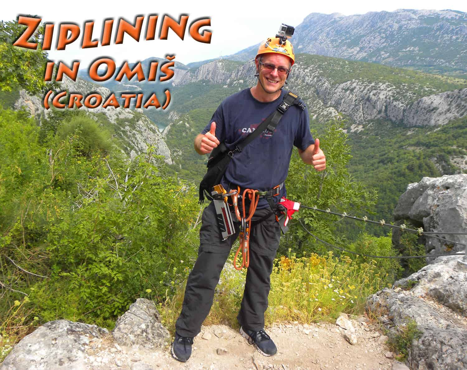 ziplining in omis, croatia