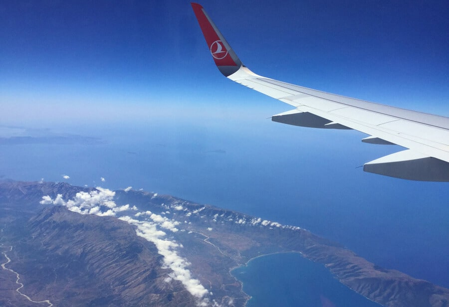 Over the Albanian coast airplane view