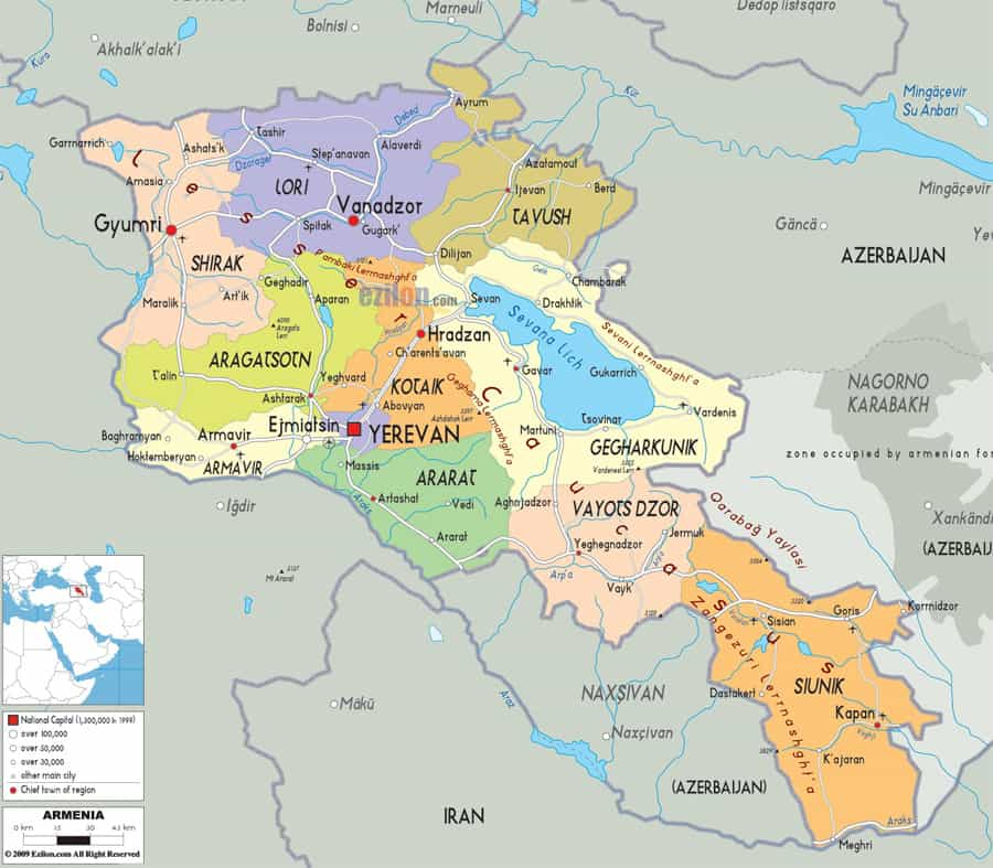 Armenia Travel Guide. Where to Go and What to See. Map