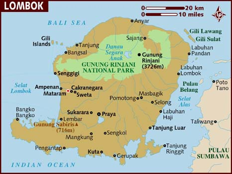 Travel Guide to the Best of Bali & Lombok. Lombok map