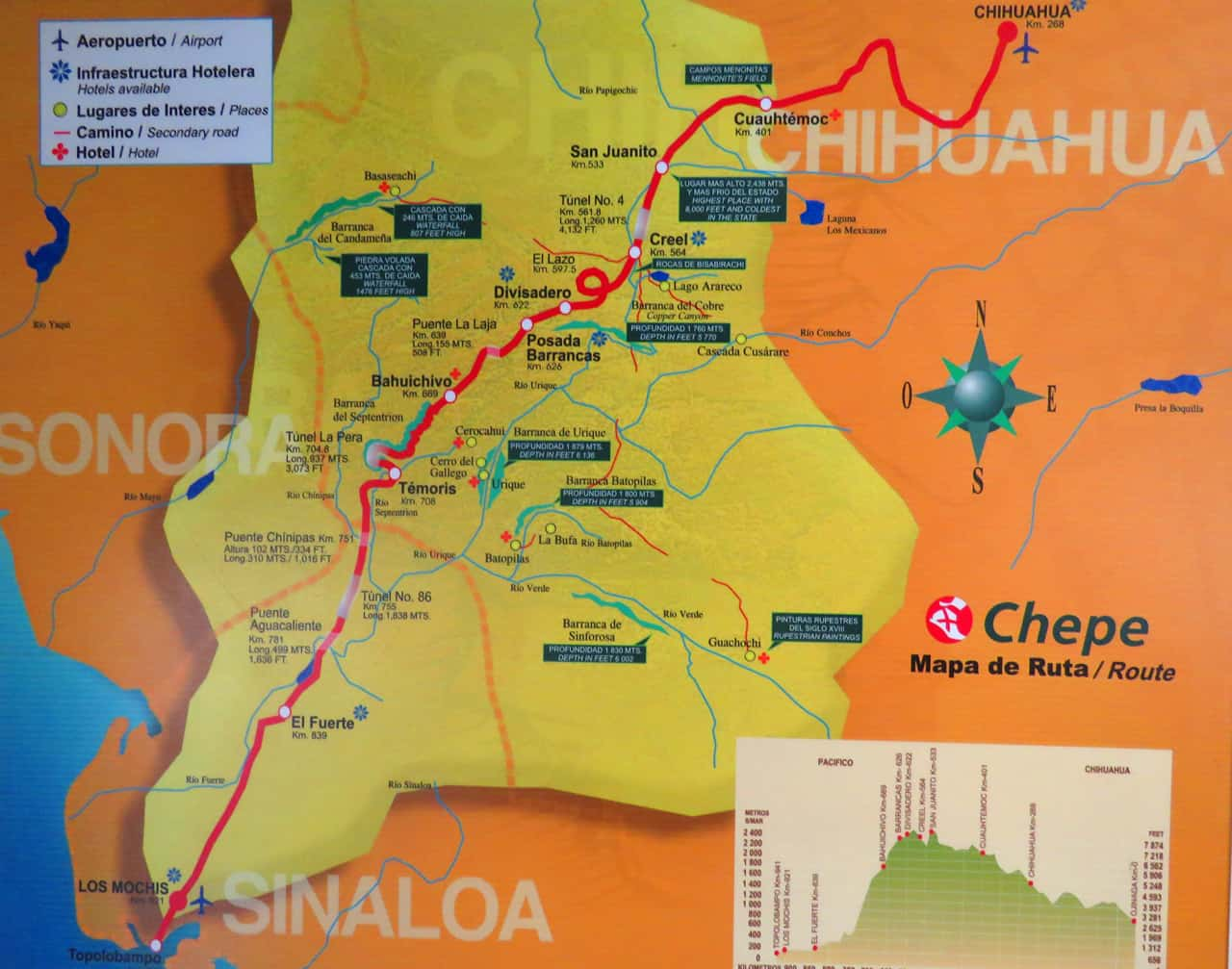 el chepe route map. Tips on visiting Creel, Copper Canyon, Mexico
