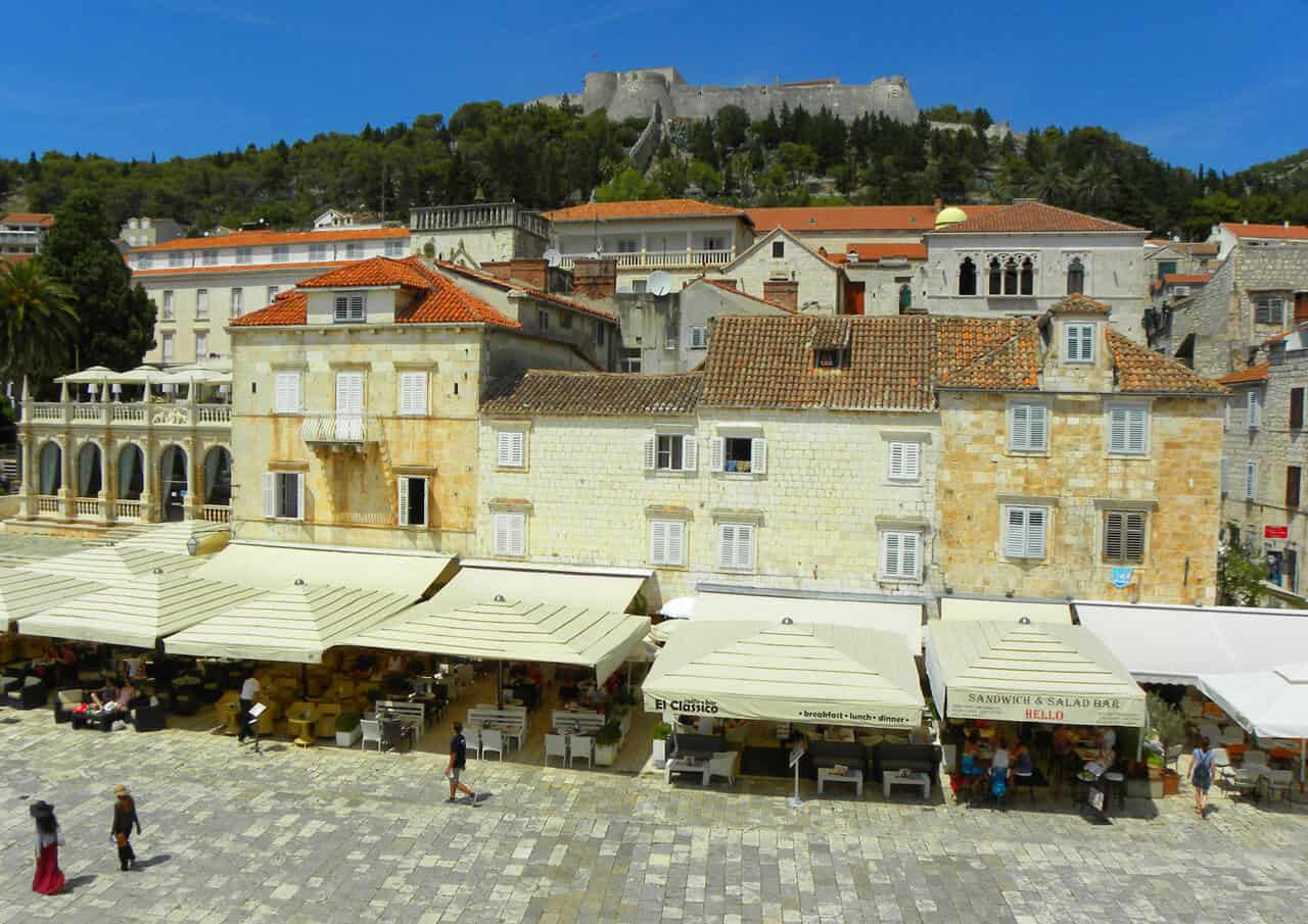 St. Stephen's square and fortress in Hvar town, Croatia