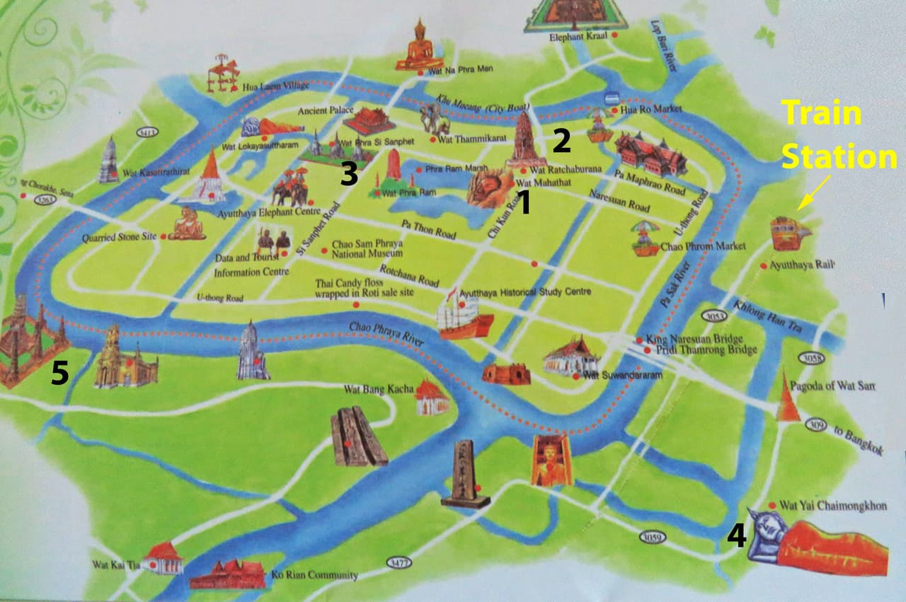 The Best of Ayutthaya in a Day. Map