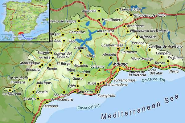 Top places to live as an expat on Spain's Costa del Sol. Map