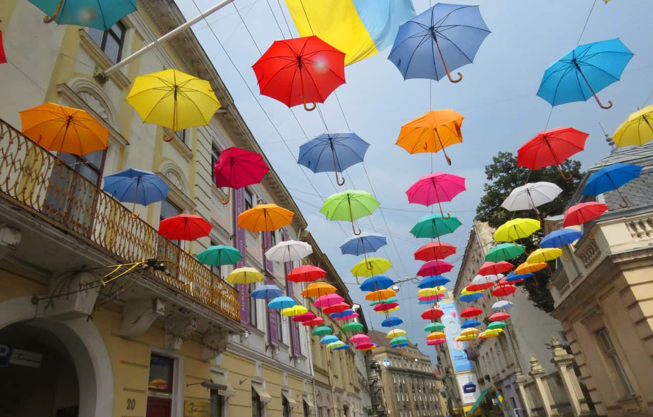 umbrellas in Lviv, Ukraine