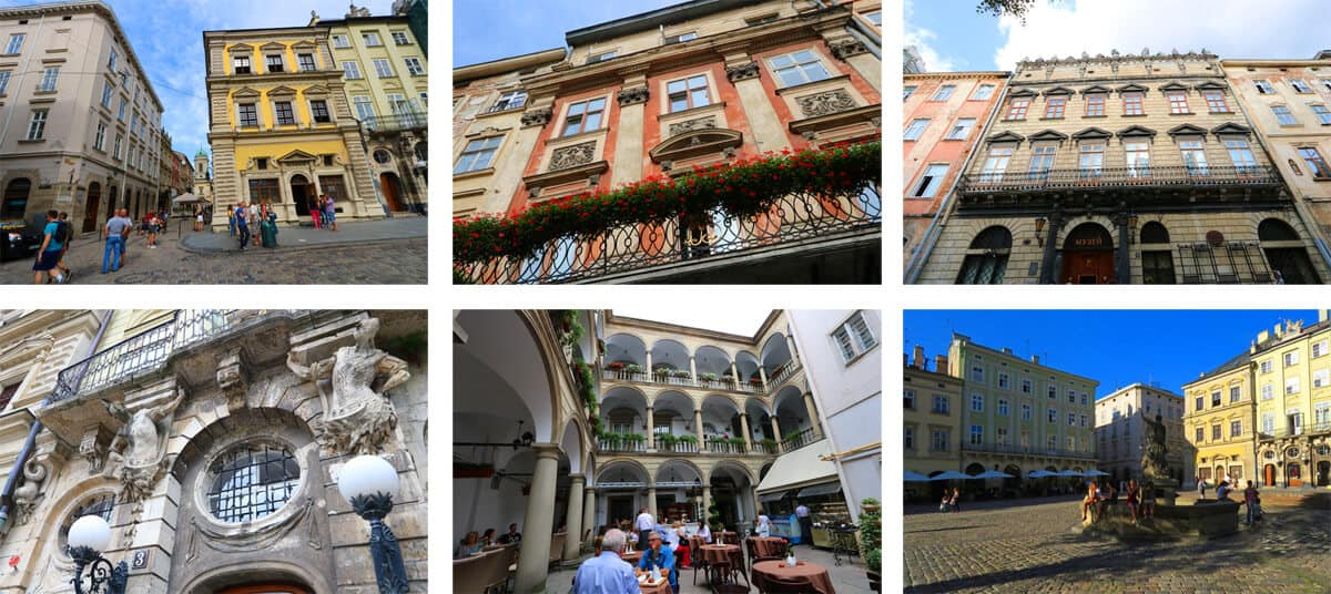 The Ultimate Travel Guide to Lviv, Ukraine. Buildings around the Rynok