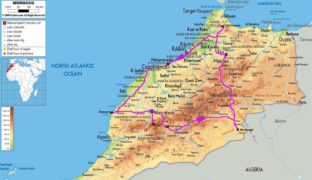 My 5 week Morocco Itinerary. Map.
