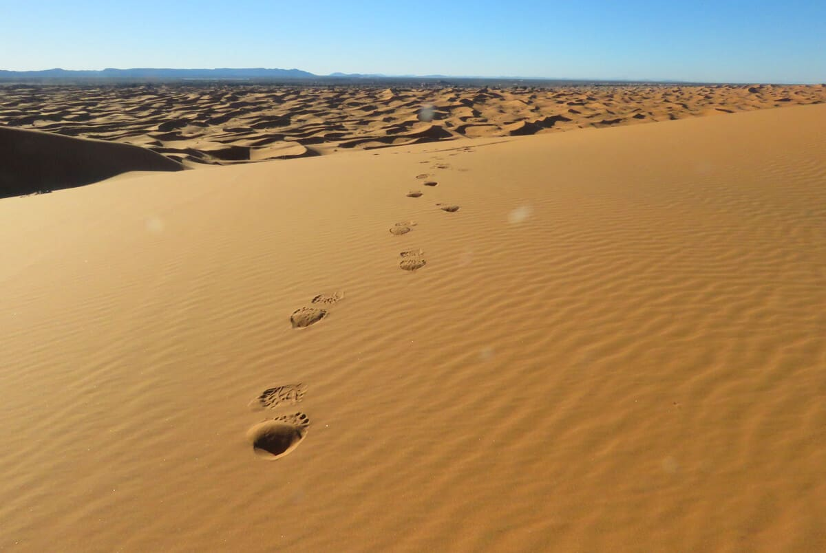 The desert in Merzouga, Morocco. Why Merzouga was a highlight of my 5 week Morocco trip