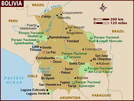 Top Places to visit in Bolivia. Map