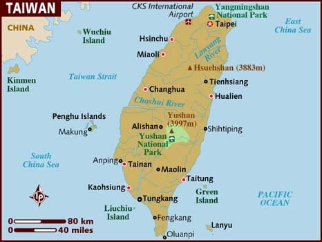 Taiwan Travel Guide. Map