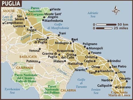 Towns that you should Visit in Puglia. Map