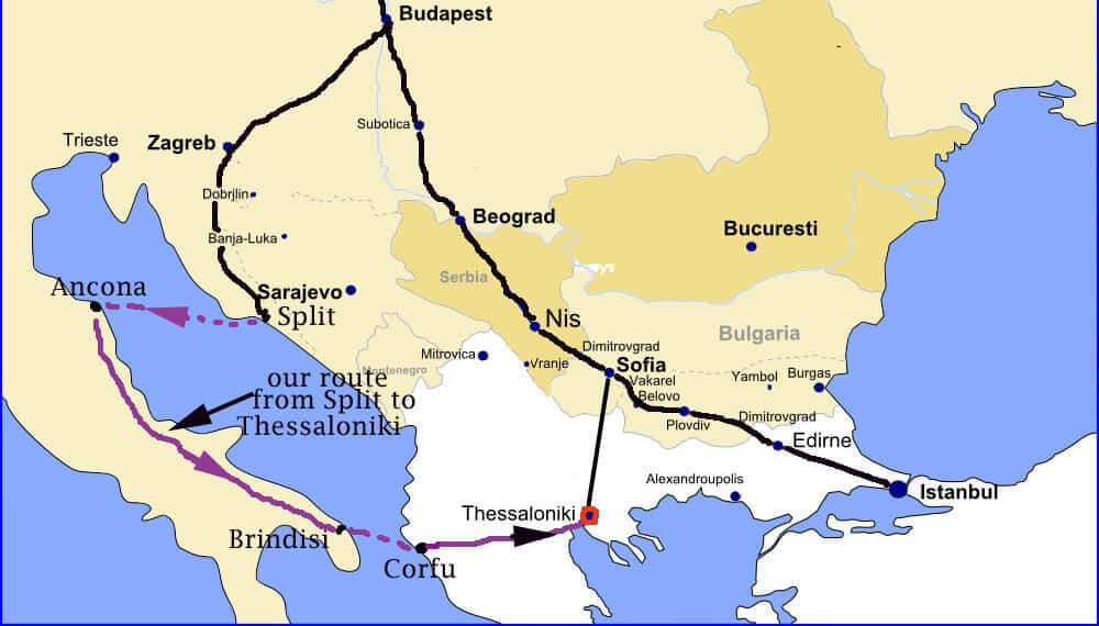 Main train routes through the Balkans....and our route.